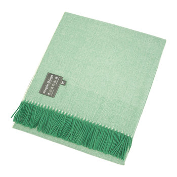 Alpaca Throw Herringbone - Green/Cream