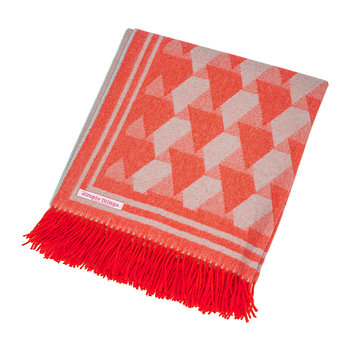 Baby Alpaca Throw - Triangle - Orange/Duck Egg