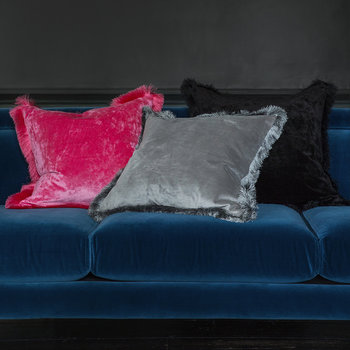 Tassel Fringed Velvet Cushion - 50x50cm - Candy