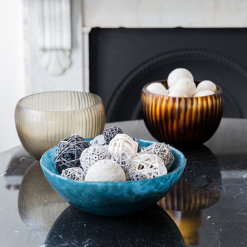 Bubbled Glass Bowl - Indigo Blue