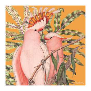 Cockatoo Leaf Print - Curry - 50x50cm