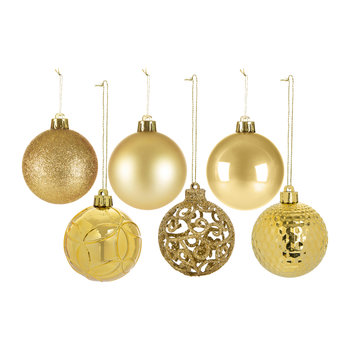 Set of 37 Assorted Baubles - Light Gold