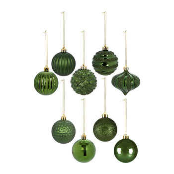 Set of 60 Baubles - Gold/Green/Red