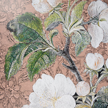 Paisley Appleblossom Flower Print - Rose