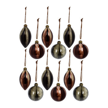Ball/Drop Bauble - Set of 12 - Olive/Rosewood
