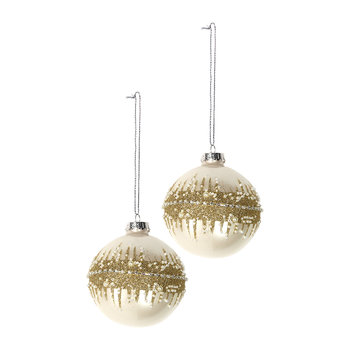 Spiky Glitter Band Bauble - Set of 2 - Cream/Gold