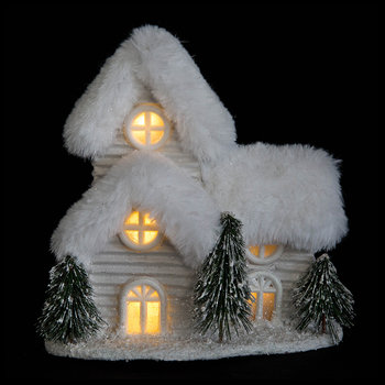 Snowy Decorative Lit House Ornament - Silver/White