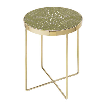 Glass Round Side Table - Green