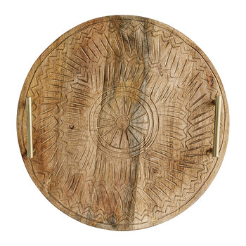 Mango Engraved Wooden Tray - Brown