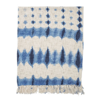 Tie Dye Effect Throw - Blue/White