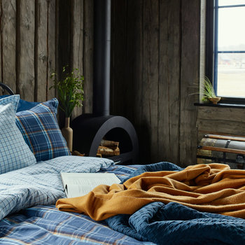 Flannel Check Quilt Cover - East Coast Sky