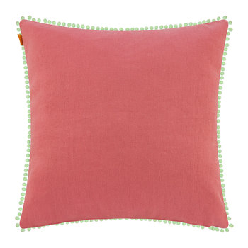 Poitiers Clain Pillow with Trims - 60x60cm - Blue/Coral