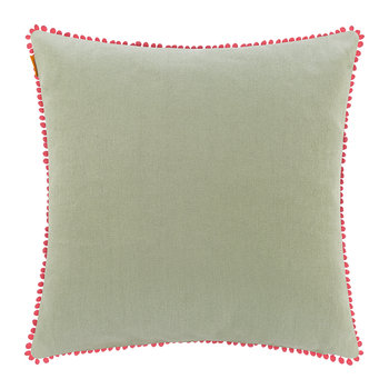 Poitiers Clain Cushion with Trims - 60x60cm - Pink/Green
