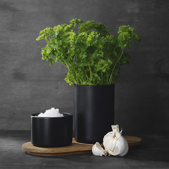 Kit Herb Jars with Oak Tray - Black
