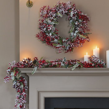 Frosted Red Berries Garland