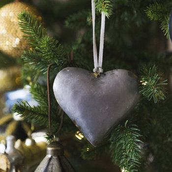 Metal Heart Tree Decoration - Set of 4