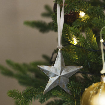 Metal Star Tree Decoration - Set of 4
