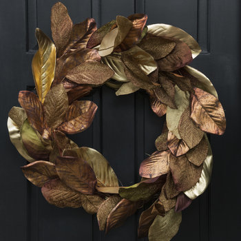 Metallic Leaf/Twig Wreath - Copper/Gold