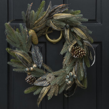 Copper Dusted Leaf Wreath