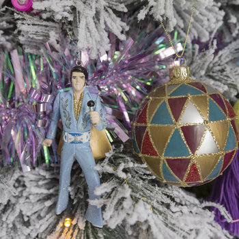 Elvis Tree Decoration - Blue Suit with Microphone
