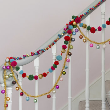 Pompom Garland with Beads - Multi