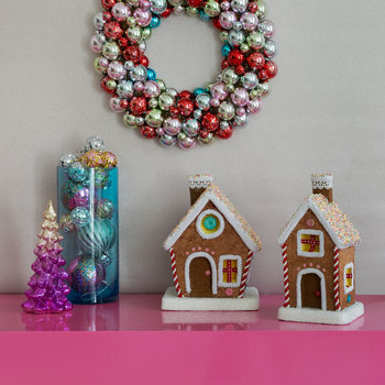 Velvet/Sequin Gingerbread House - Short