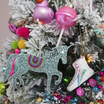 Beaded Unicorn Tree Decoration - Set of 4