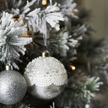 Set of 33 Assorted Baubles and Tree Topper - Silver