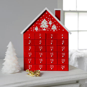 Wooden House Advent Calendar - Red