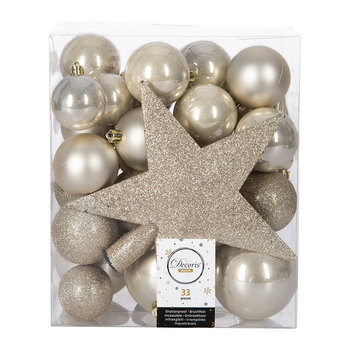 Set of 33 Assorted Baubles and Tree Topper - Pearl