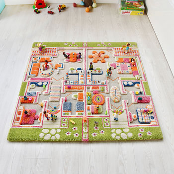 Children's 3D Play Rug - Beach House - 100x100cm
