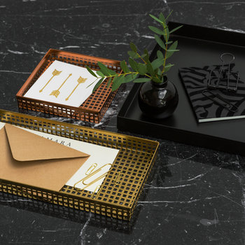 Square Trays - Set of 3 - Black/Copper/Gold