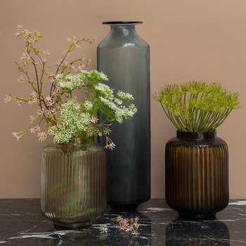 Striped Glass Vase - Smoke Grey