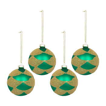 Glitter Swag Bauble - Set of 4 - Green/Gold