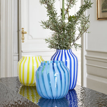 Wide Juice Striped Glass Vase - Light Blue