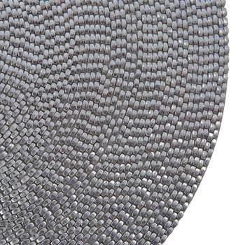 Woven Beaded Placemat - Set of 2 - Silver