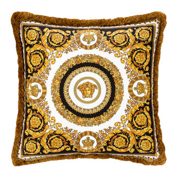Barocco Silk Cushion - Black/Gold/White