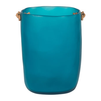 Water Bath Waste Bin with Leather Handles - Ocean Blue