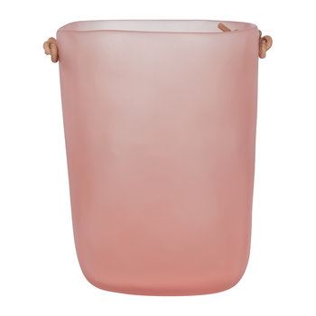 Water Bath Waste Bin with Leather Handles - Pink