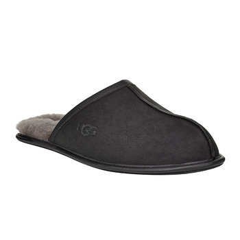 Men's Leather Scuff Slippers - Black