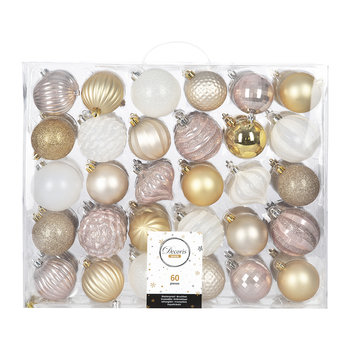 Set of 60 Baubles - Gold/Pink/Pearl/White