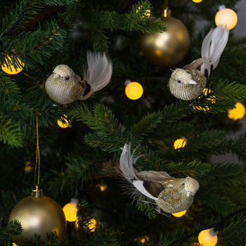 Glitter Bird Clip Tree Decoration - Set of 3 - Cream/Brown