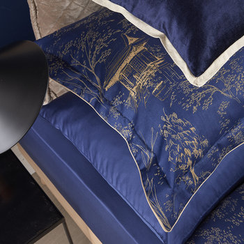 Japanese Maple Quilt Set - Navy