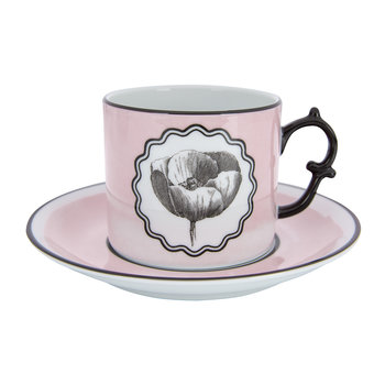 Herbariae Teacup and Saucer - Set of 2 - Pink/Peacock
