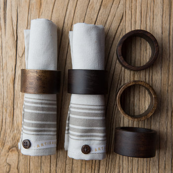 Acacia Wood Napkin Ring - Set of 4