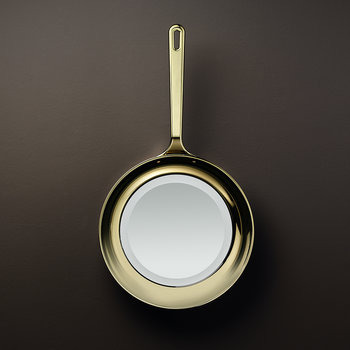 Frying Pan Mirror - Gold