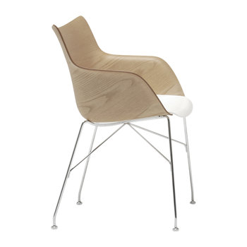 Q/Wood Armchair - Light Wood/White/Chrome