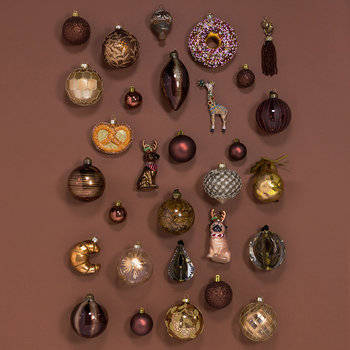Set of 33 Assorted Baubles and Tree Topper - Rosewood