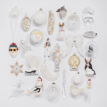 Set of 37 Assorted Baubles - Winter White