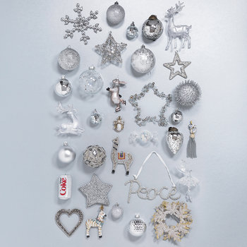 Set of 30 Assorted Baubles - Silver